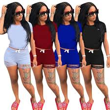 <b>2019</b> summer <b>hot</b> sell 7colors <b>women Casual</b> Two Piece blank short ...