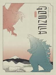 <b>Godzilla</b> Poster in the style of <b>Japanese</b> woodblock <b>printing</b> ...