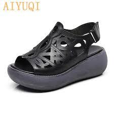 <b>AIYUQI Women sandals</b> Retro 2019 new genuine leather <b>women</b> ...