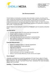 job announcement recruiting full time producer chenla media chenla media job announcement