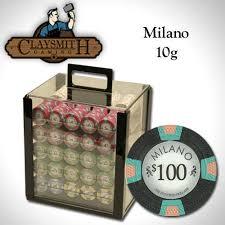<b>1000 PC</b> MILANO Pure Clay 10 Gram Poker Chips <b>Acrylic</b> Carrier ...