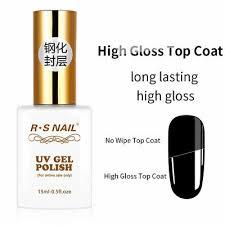 <b>RS Nail</b> Gel Polish Tempered High Gloss Top Coat No Wipe <b>UV</b> ...