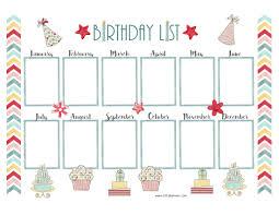 birthday calendar pretty birthday calendar template