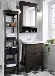 washstand bathroom pine: a small traditional bathroom with hemnes washstand shelf and mirror cabinet in brown