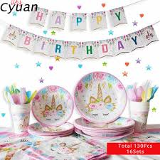 Cyuan <b>Unicorn Party Decor Disposable</b> Tableware Unicornio Party ...