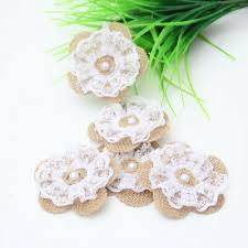 <b>10pcs Handmade Jute</b> Hessian <b>Burlap Flower</b> With Lace <b>Rose</b> Hat ...