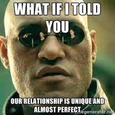 WHAT IF I TOLD YOU OUR RELATIONSHIP IS UNIQUE AND ALMOST PERFECT ... via Relatably.com