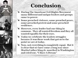 leaders of the civil rights movement aim how effective were  conclusion during the american civil rights movement many different and unique leaders and groups came to