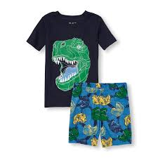 boys sleepwear the children s place off boys short sleeve glow in the dark dinosaur top and printed shorts pj set