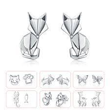 <b>BISAER High Quality</b> 925 Sterling Silver Folding Fox Silver White CZ ...