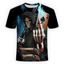 2018 <b>NEW 3d skull poker</b> funny t shirts Men HOT Brand Mens ...