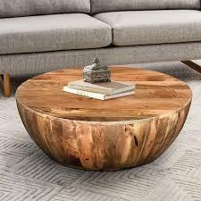 Union Rustic Beliveau <b>Solid</b> Wood Drum <b>Coffee Table</b> & Reviews ...