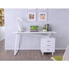 Computer Desk with <b>Three Drawers</b> Glossy White - Computer Desks ...