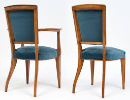 16b104 french art deco cherrywood velvet dining room art deco dining chairs