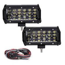2 Pcs Quad Rows <b>7 inch</b> Led Bar Work light <b>12V</b> 72W 7200lm ...