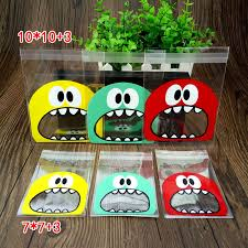 <b>50pcs</b> OPP Monster Plastic Bag Of <b>Cute Big Teech</b> Mouth Sharp ...
