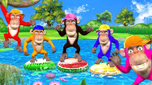 Funny <b>Monkeys</b> Plays With <b>Inflatable</b> Toys for <b>Kids</b> - Five Little ...