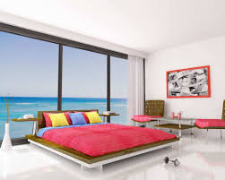 enjoy beautiful blue sea view from cool bedroom ideas with wide platform bed and colorful cushions arrange cool