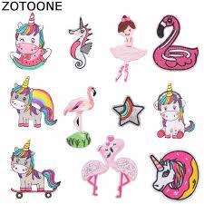 <b>ZOTOONE Unicorn</b> Flamingo Patches Seahorse Sticker Iron on ...