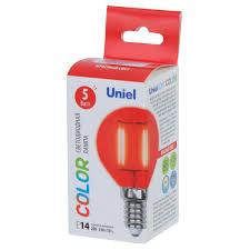 <b>Лампа светодиодная Uniel</b> Color шар E14 5 Вт свет красный в ...