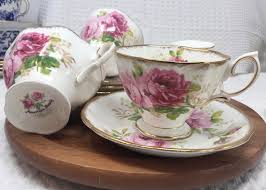 Set of Four Cup and Saucer Sets American <b>Beauty</b> Fine Bone ...