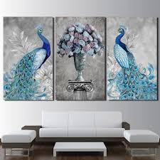 <b>Canvas</b> Art Frames Decor 3 Pieces Peacock Couple <b>Painting</b> Poster ...