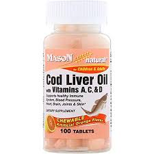 Mason Natural <b>Chewable Cod Liver Oil</b> with Vitamins A C D Orange ...