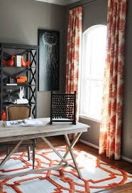 home office rug drapes and rug bring orange to the home office in gray design cristi beautiful home office makeover sita