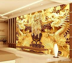 3d woodcut view gold double dragon photo wallpaper wall mural art giant wall decor poster corridor office nursery living room baby nursery ba room wallpaper border