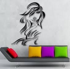 <b>Vinyl Decal Wall</b> Beauty Salon Fashion <b>Girl</b> Hairdresser Long Hair ...