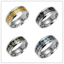 Fashion Gold Chain <b>Titanium Steel Ring</b> For Men Silvery Black ...