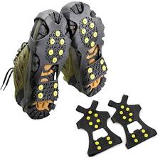 bsaid outdoor snow ice gripper 10 nails crampons strap climbing cleats spikes non slip boots silicone covers shoes grip