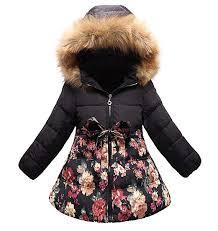 SS&CC <b>Girls</b>' Long <b>Flower</b> Printing Bowknot Winter Coat <b>Hooded</b> ...
