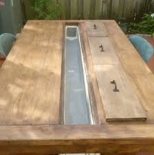 build your own bumper pool table builders showcase rustic outdoor table with cooling tray the design build your own rustic furniture