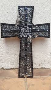 iron wall cross love: our love story quote and mosaic cross