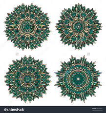 abstract circular floral patterns of emerald lace flowers densely packed with ornamental petals and leaves home carpet pattern background home