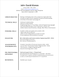 sample fresh graduate resume format for technical support resume sample fresh graduate resume format for technical support