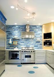 suspended track lighting kitchen contemporary with blue tile backsplash curved image by jennifer siu rivera photography blue track lighting