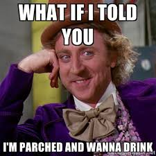 What if I told you I'm parched and wanna drink - willywonka | Meme ... via Relatably.com