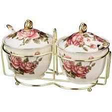 <b>Набор банок из керамики</b> для сыпучих продуктов Розы 86-932 ...