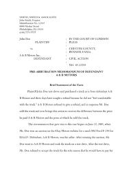 arbitration memorandum sample implied warranty truck