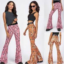 Vintage Plaid <b>Women</b> Girls High Waist Bell Bottom Long Flare Pants ...