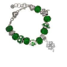 <b>New</b> St Patricks Day Green Bracelet Elasticated ~ <b>Lucky Four leaf</b> ...