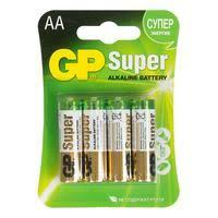 <b>Батарейки GP Super</b> пальчиковые AA LR6 (4 штуки в упаковке ...