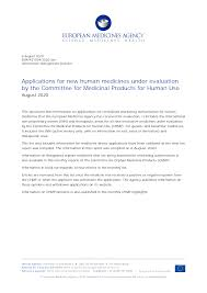 CHMP - applications <b>for new human</b> medicines: August 2020