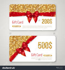 royalty gift card design gold glitter 309404183 stock invitation decorative card template voucher design holiday invitation glowing new year or christmas backdrop certificate for shopping stock vector