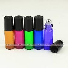 <b>5PCS</b> MIX COLOR 1ml ~ <b>10ml</b> Empty Glass Roll On Bottles Roller ...