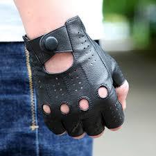 2019 <b>Genuine Leather Half Finger</b> Gloves Men'S Thin Motorcycle ...