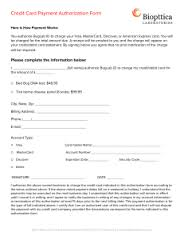 Recurring Payment Authorization Form- Credit Card Payment Authorization Form
