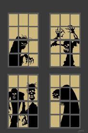 love halloween window decor:  halloween window silhouettes decoration of scary monsters skull  halloween